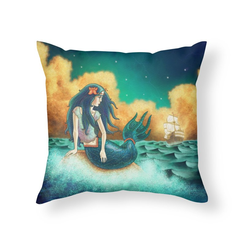 Little Mermaid Pillow Home Throw Pillow by The Metaphrog Artist Shop