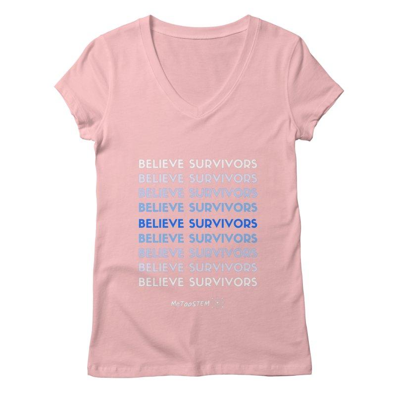 Believe Survivors - Blue Women's Regular V-Neck by MeTooSTEM