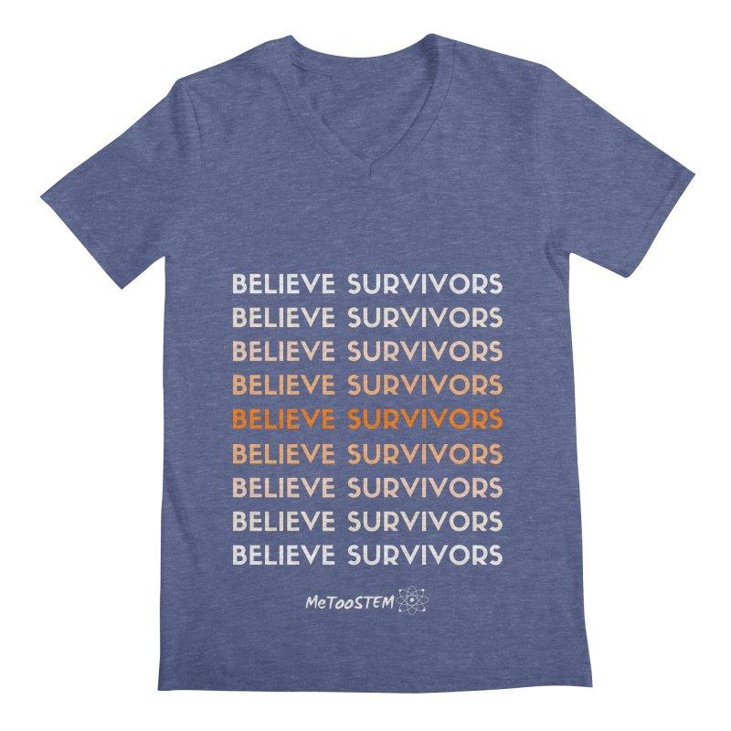 Believe Survivors - Orange Men's Regular V-Neck by MeTooSTEM