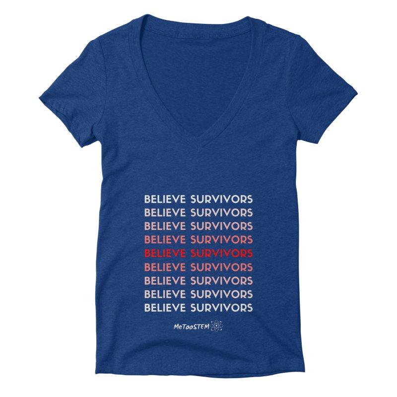 Believe Survivors - Red Women's Deep V-Neck V-Neck by MeTooSTEM