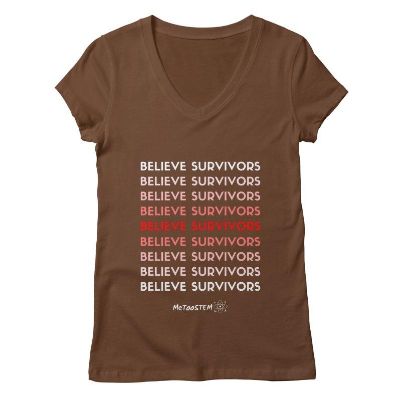 Believe Survivors - Red Women's Regular V-Neck by MeTooSTEM