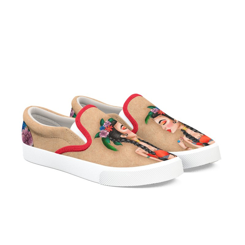 Metro&medio Designs - Flower crown Pin-up Men's Slip-On Shoes by metroymedio's Artist Shop
