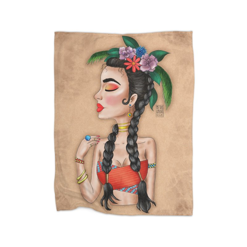 Metro&medio Designs - Flower crown Pin-up Home Fleece Blanket Blanket by metroymedio's Artist Shop