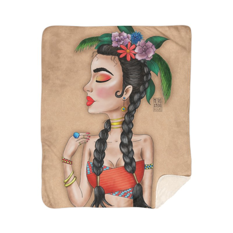 Metro&medio Designs - Flower crown Pin-up Home Blanket by metroymedio's Artist Shop