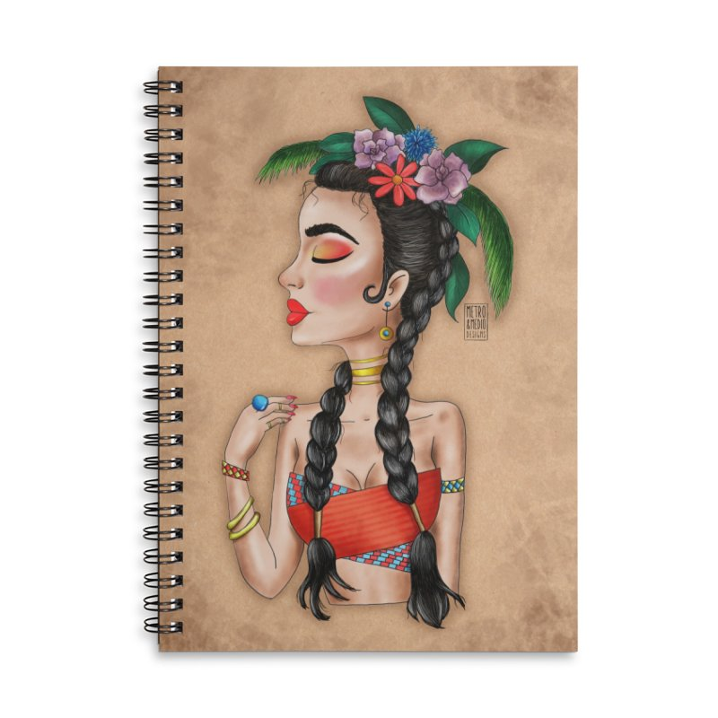 Metro&medio Designs - Flower crown Pin-up Accessories Lined Spiral Notebook by metroymedio's Artist Shop