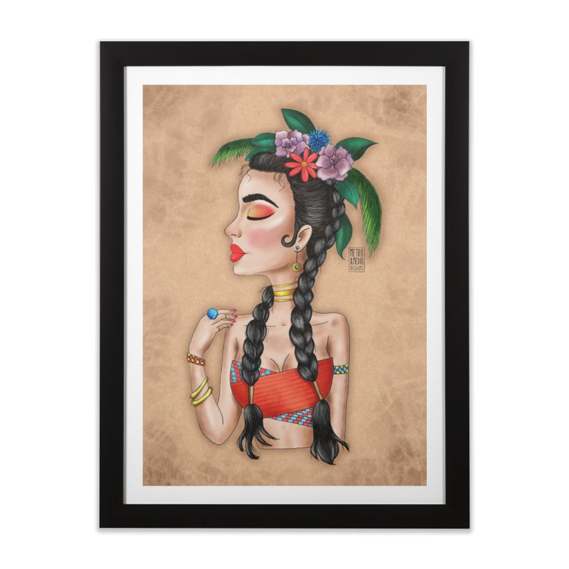 Metro&medio Designs - Flower crown Pin-up Home Framed Fine Art Print by metroymedio's Artist Shop