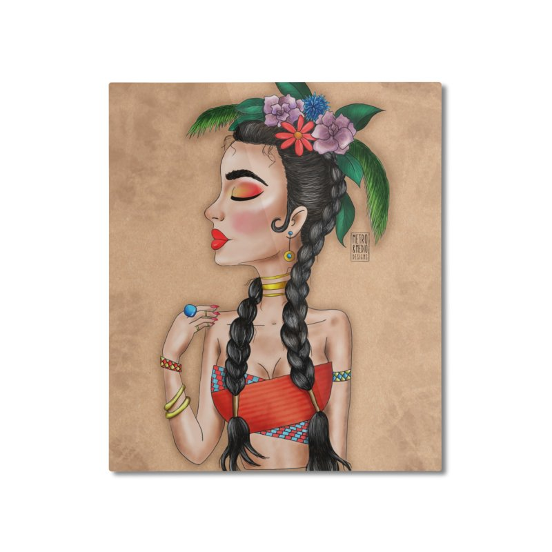 Metro&medio Designs - Flower crown Pin-up Home Mounted Aluminum Print by metroymedio's Artist Shop