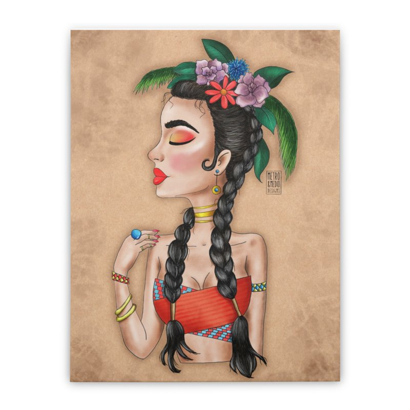 Metro&medio Designs - Flower crown Pin-up Home Stretched Canvas by metroymedio's Artist Shop