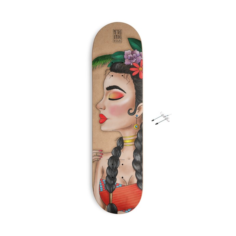 Metro&medio Designs - Flower crown Pin-up Accessories With Hanging Hardware Skateboard by metroymedio's Artist Shop