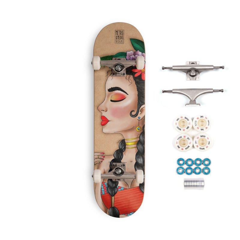 Metro&medio Designs - Flower crown Pin-up Accessories Complete - Premium Skateboard by metroymedio's Artist Shop