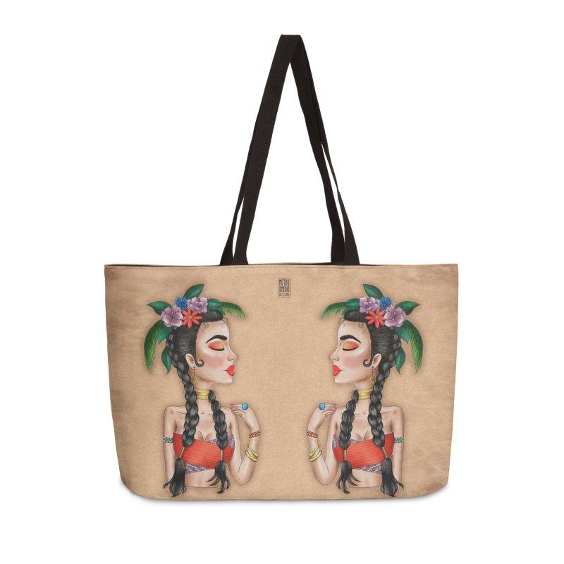 Metro&medio Designs - Flower crown Pin-up Accessories Weekender Bag Bag by metroymedio's Artist Shop
