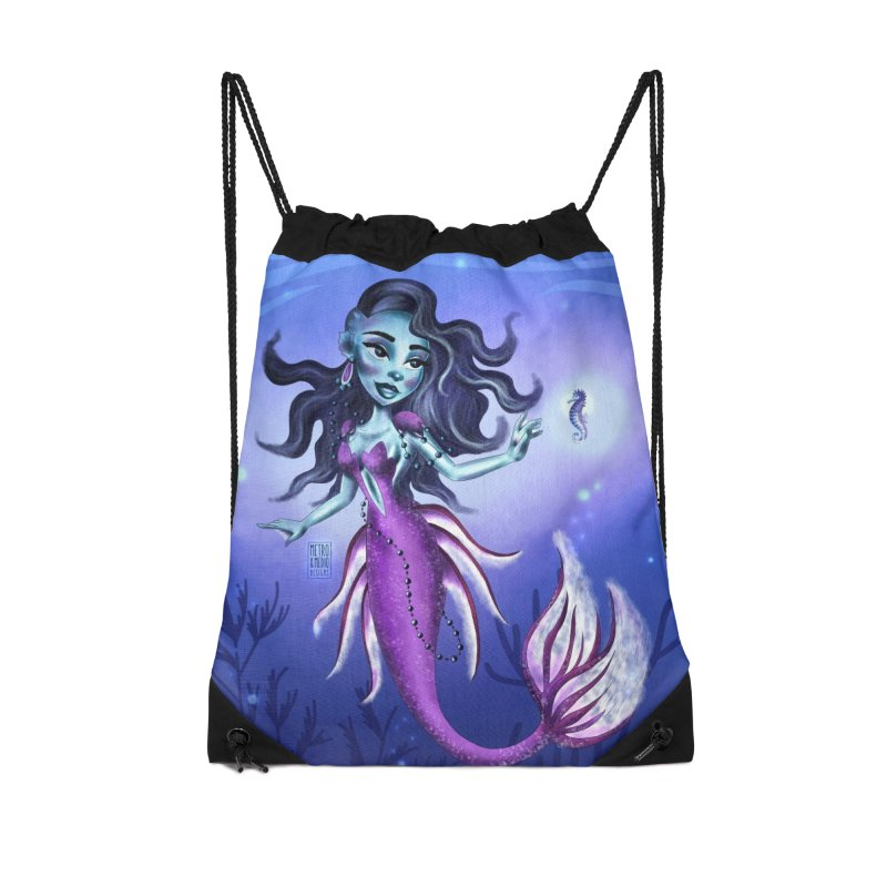 Metro&medio Designs - Purple mermaid Accessories Drawstring Bag Bag by metroymedio's Artist Shop