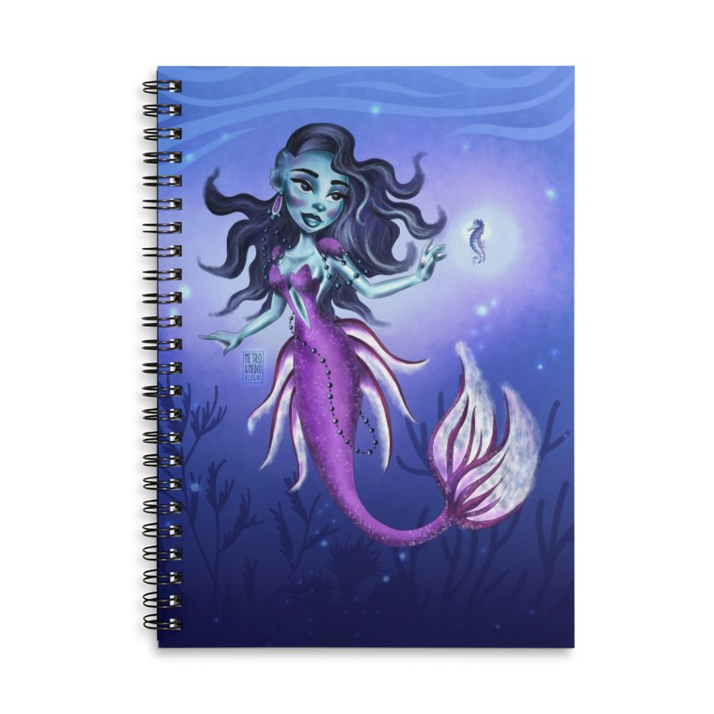 Metro&medio Designs - Purple mermaid Accessories Lined Spiral Notebook by metroymedio's Artist Shop