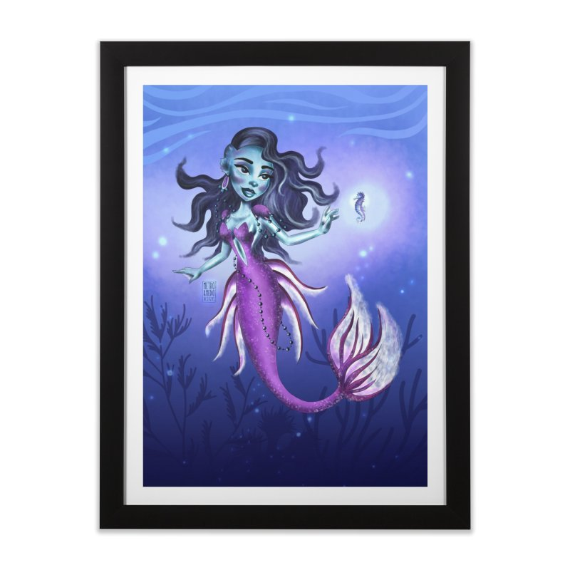 Metro&medio Designs - Purple mermaid Home Framed Fine Art Print by metroymedio's Artist Shop