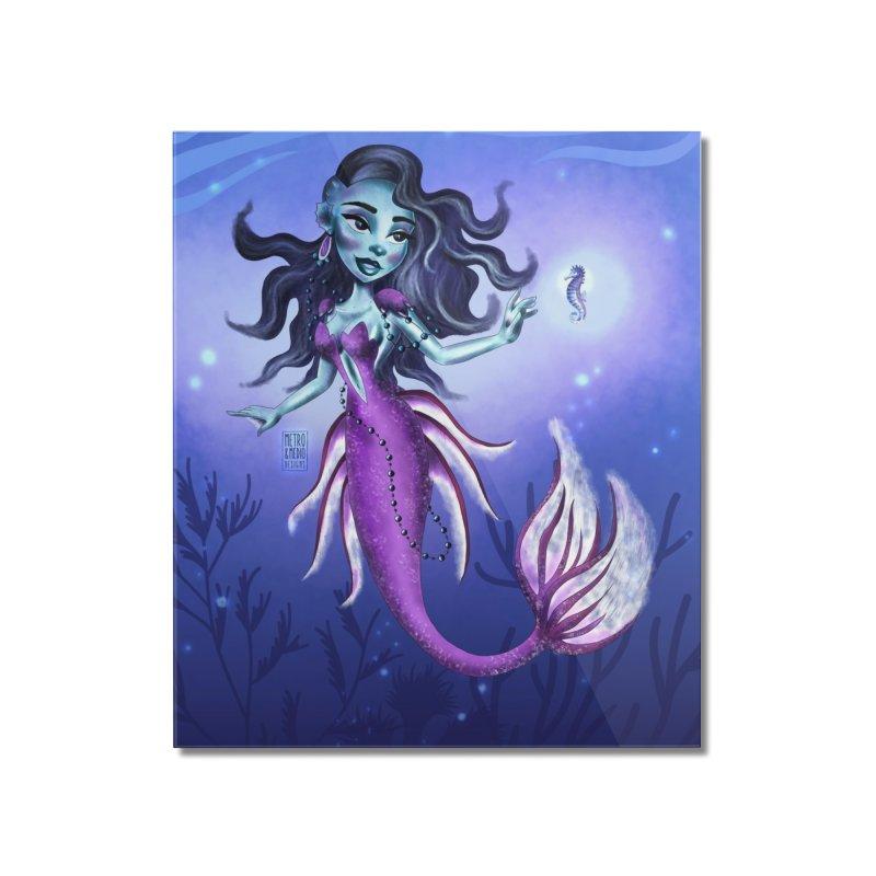 Metro&medio Designs - Purple mermaid Home Mounted Acrylic Print by metroymedio's Artist Shop