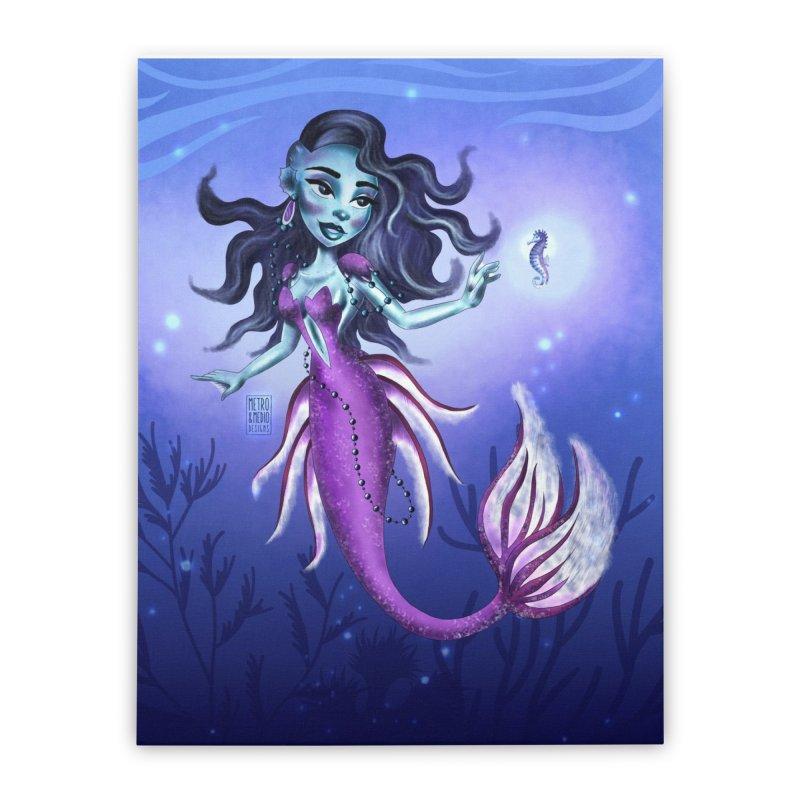 Metro&medio Designs - Purple mermaid Home Stretched Canvas by metroymedio's Artist Shop
