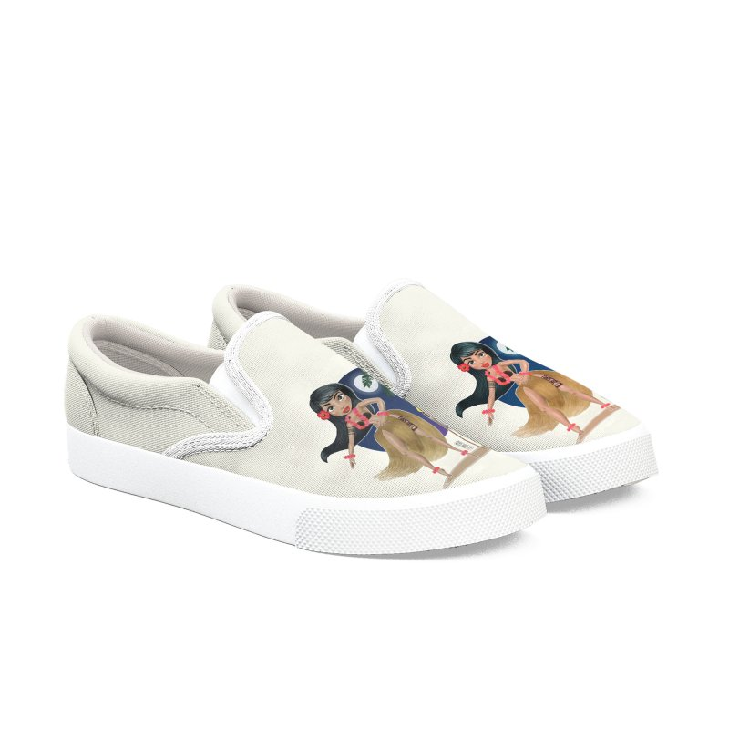 Metro&medio Designs - Hula Dancer Pin-up Men's Slip-On Shoes by metroymedio's Artist Shop