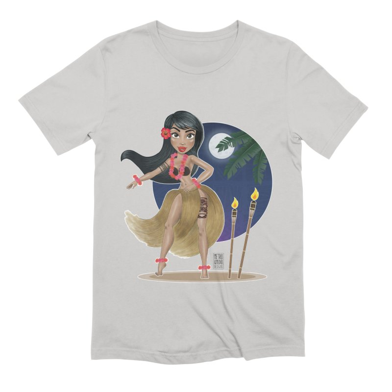 Metro&medio Designs - Hula Dancer Pin-up Men's Extra Soft T-Shirt by metroymedio's Artist Shop