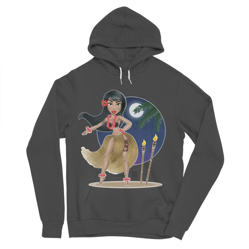 Metro&medio Designs - Hula Dancer Pin-up Women's Sponge Fleece Pullover Hoody by metroymedio's Artist Shop