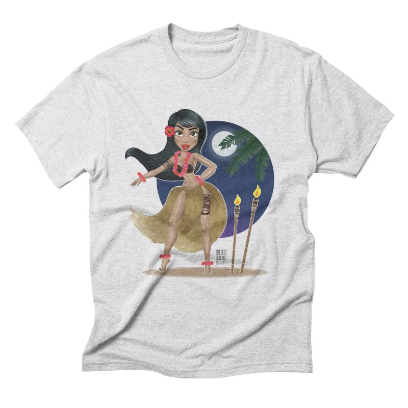 Metro&medio Designs - Hula Dancer Pin-up Men's Triblend T-Shirt by metroymedio's Artist Shop