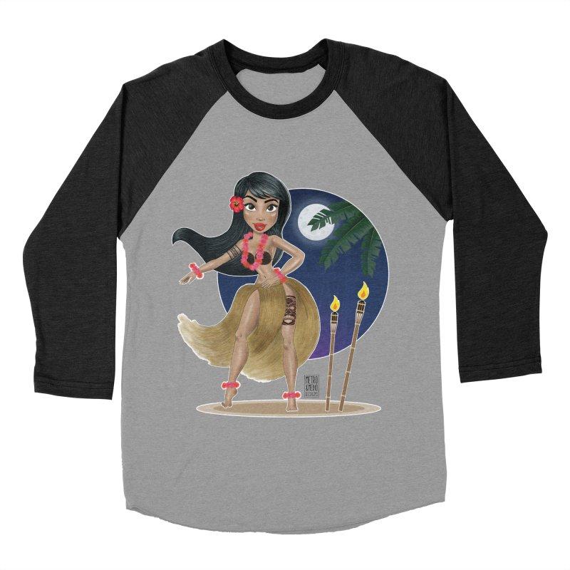 Metro&medio Designs - Hula Dancer Pin-up Women's Baseball Triblend Longsleeve T-Shirt by metroymedio's Artist Shop
