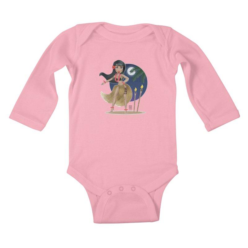 Metro&medio Designs - Hula Dancer Pin-up Kids Baby Longsleeve Bodysuit by metroymedio's Artist Shop