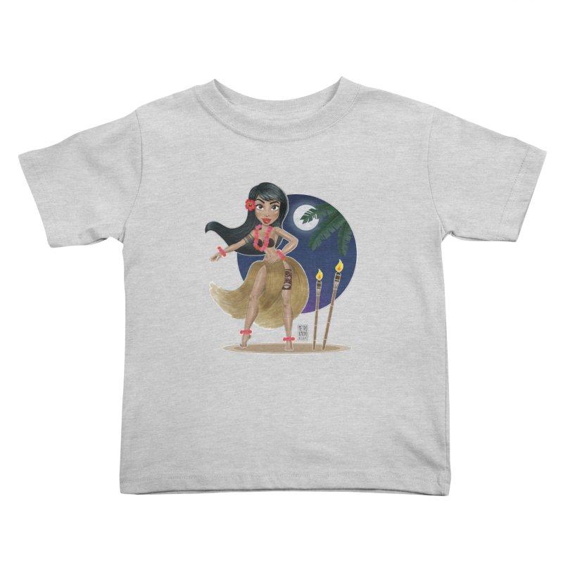 Metro&medio Designs - Hula Dancer Pin-up Kids Toddler T-Shirt by metroymedio's Artist Shop