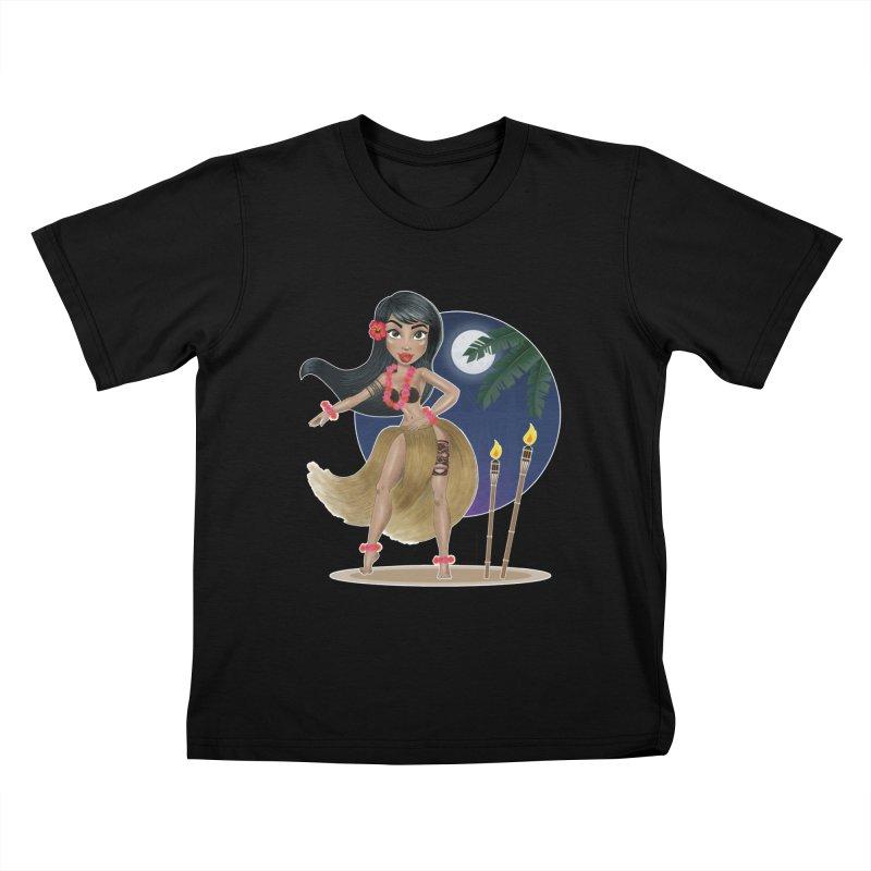Metro&medio Designs - Hula Dancer Pin-up Kids T-Shirt by metroymedio's Artist Shop