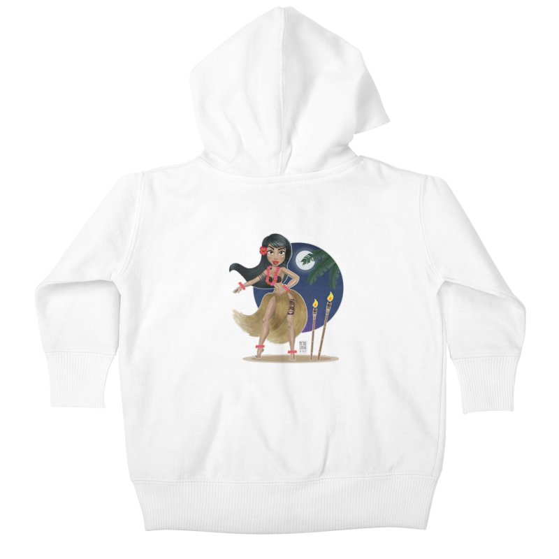 Metro&medio Designs - Hula Dancer Pin-up Kids Baby Zip-Up Hoody by metroymedio's Artist Shop