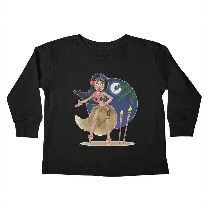 Metro&medio Designs - Hula Dancer Pin-up Kids Toddler Longsleeve T-Shirt by metroymedio's Artist Shop