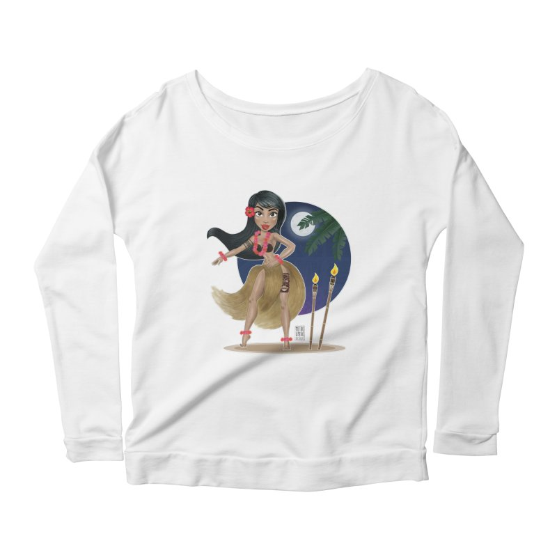 Metro&medio Designs - Hula Dancer Pin-up Women's Scoop Neck Longsleeve T-Shirt by metroymedio's Artist Shop