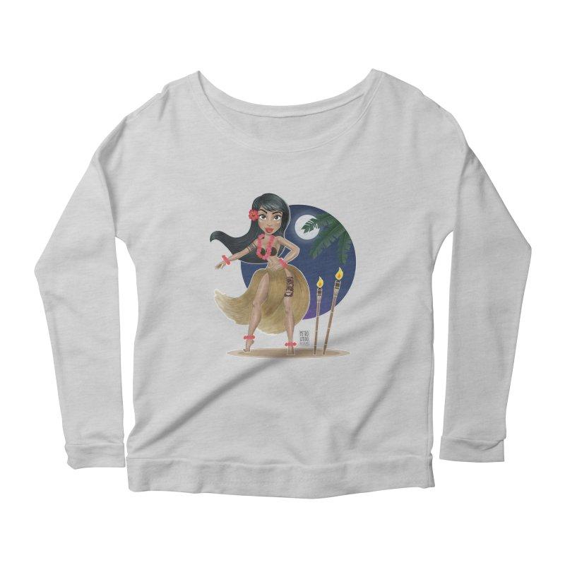 Metro&medio Designs - Hula Dancer Pin-up Women's Longsleeve T-Shirt by metroymedio's Artist Shop