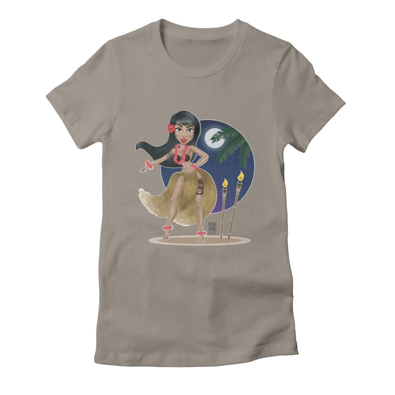 Metro&medio Designs - Hula Dancer Pin-up Women's Fitted T-Shirt by metroymedio's Artist Shop