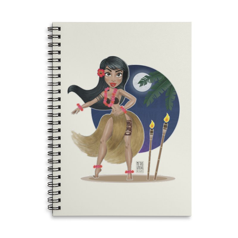 Metro&medio Designs - Hula Dancer Pin-up Accessories Lined Spiral Notebook by metroymedio's Artist Shop