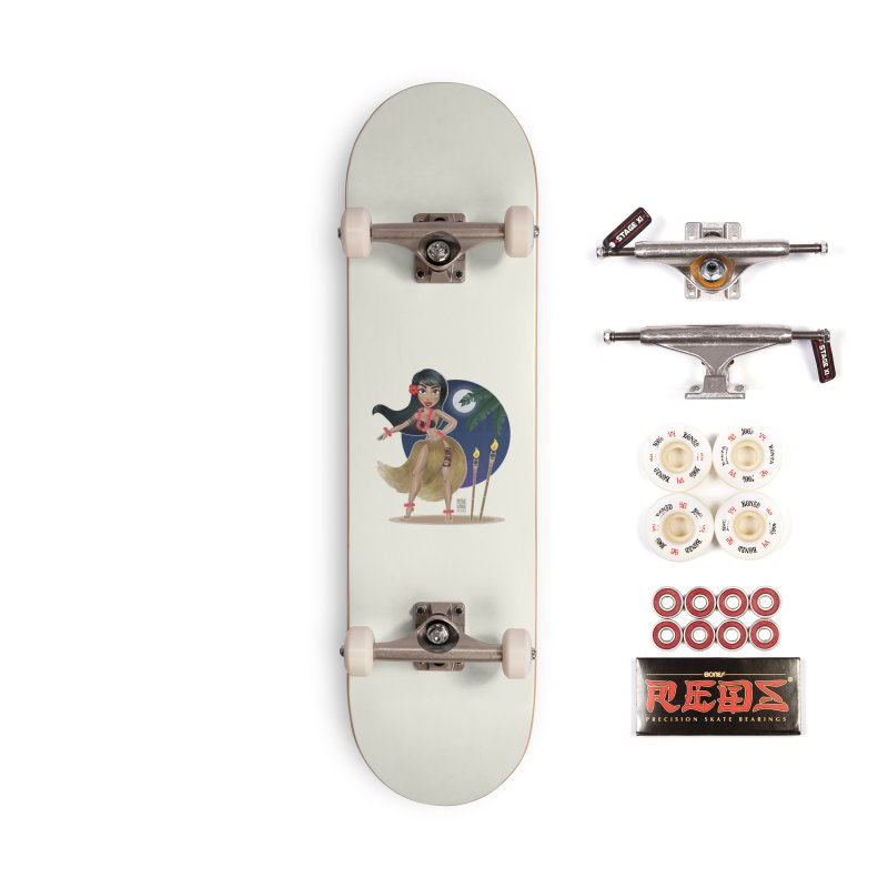 Metro&medio Designs - Hula Dancer Pin-up Accessories Complete - Pro Skateboard by metroymedio's Artist Shop