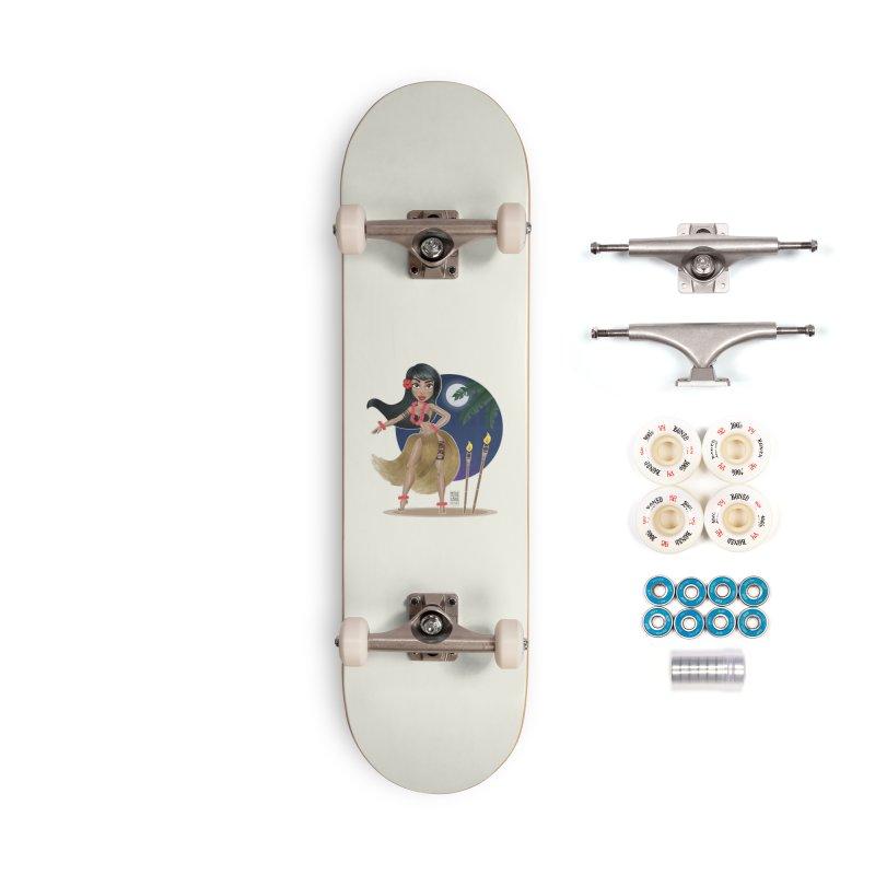 Metro&medio Designs - Hula Dancer Pin-up Accessories Complete - Premium Skateboard by metroymedio's Artist Shop