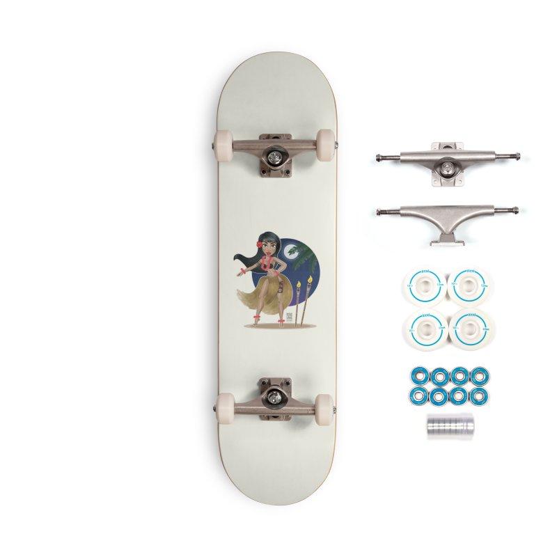 Metro&medio Designs - Hula Dancer Pin-up Accessories Skateboard by metroymedio's Artist Shop