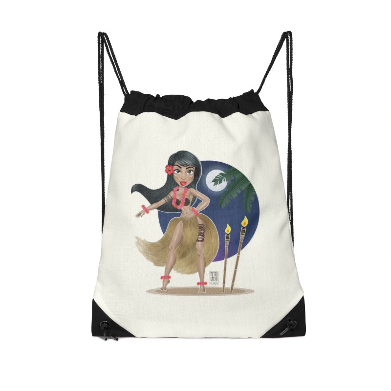 Metro&medio Designs - Hula Dancer Pin-up Accessories Drawstring Bag Bag by metroymedio's Artist Shop