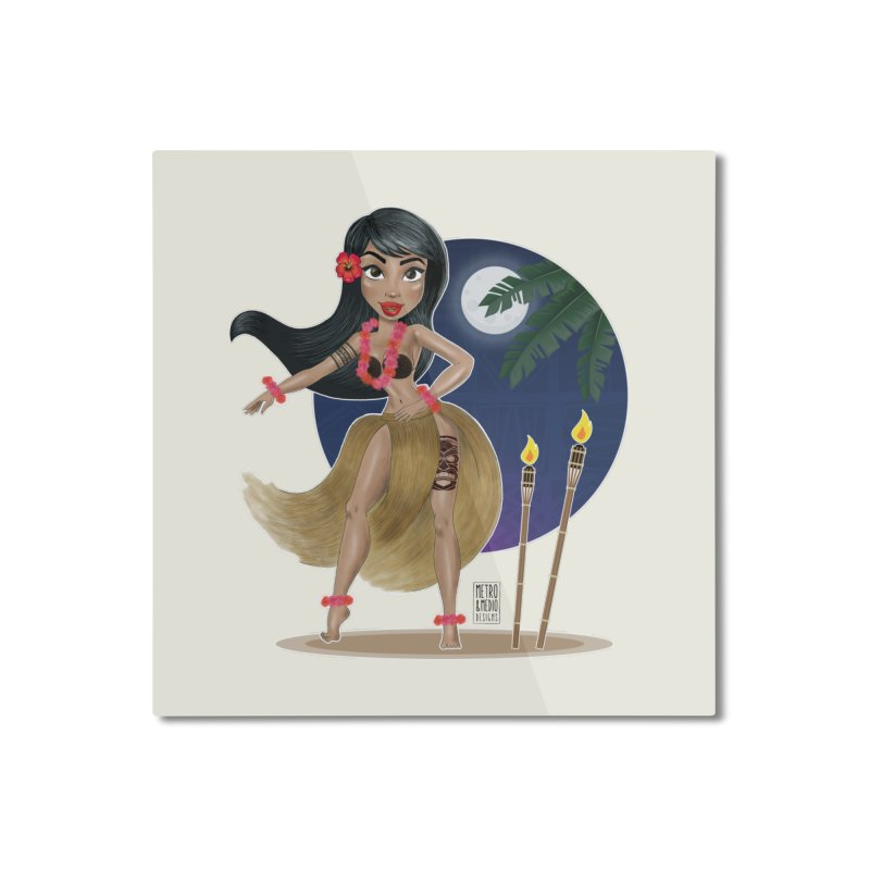 Metro&medio Designs - Hula Dancer Pin-up Home Mounted Aluminum Print by metroymedio's Artist Shop