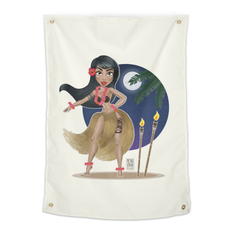 Metro&medio Designs - Hula Dancer Pin-up Home Tapestry by metroymedio's Artist Shop