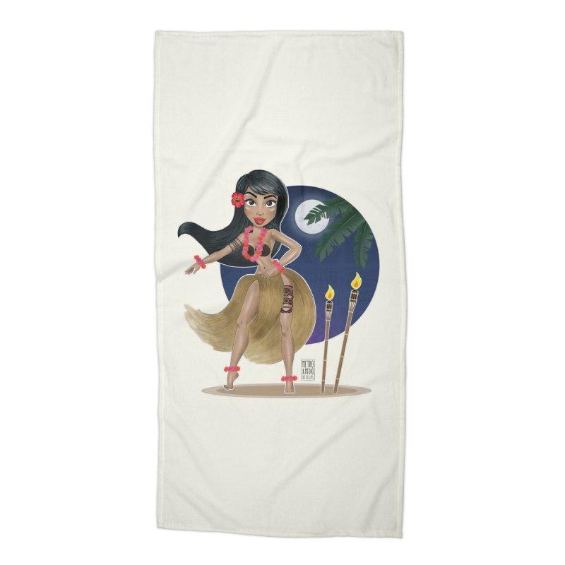 Metro&medio Designs - Hula Dancer Pin-up Accessories Beach Towel by metroymedio's Artist Shop