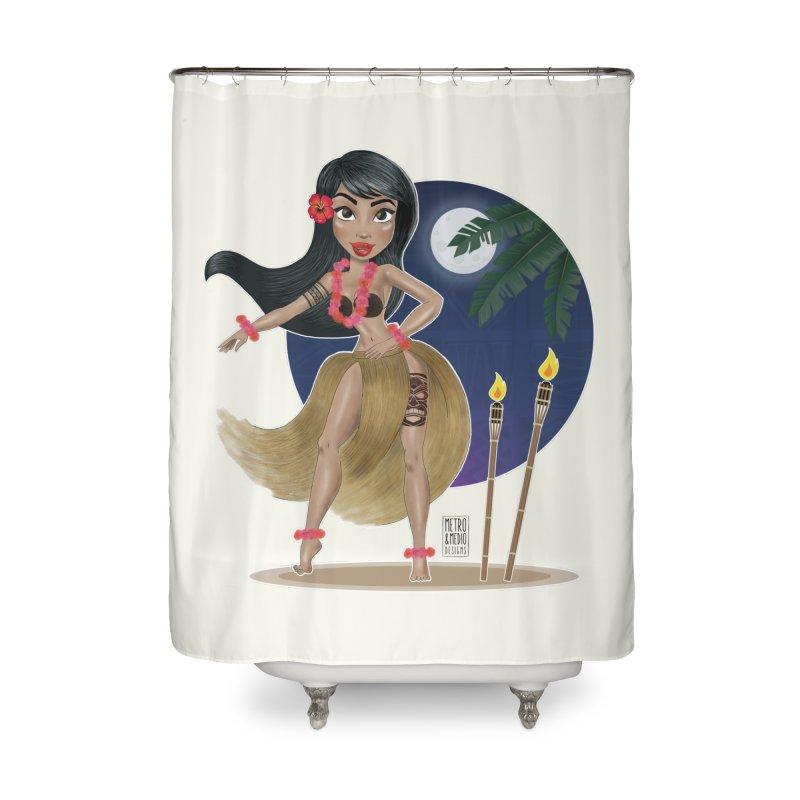 Metro&medio Designs - Hula Dancer Pin-up Home Shower Curtain by metroymedio's Artist Shop
