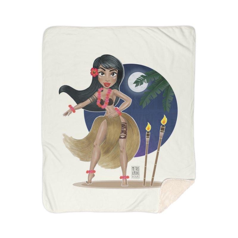 Metro&medio Designs - Hula Dancer Pin-up Home Sherpa Blanket Blanket by metroymedio's Artist Shop