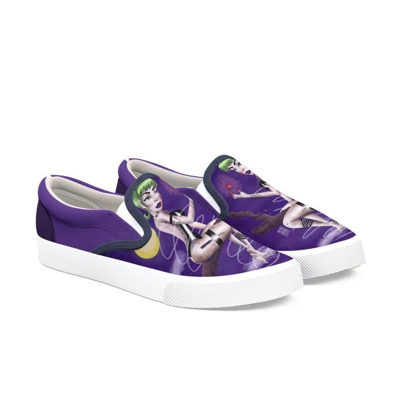 Metro&medio Designs - Enchantress Pin-up Men's Slip-On Shoes by metroymedio's Artist Shop