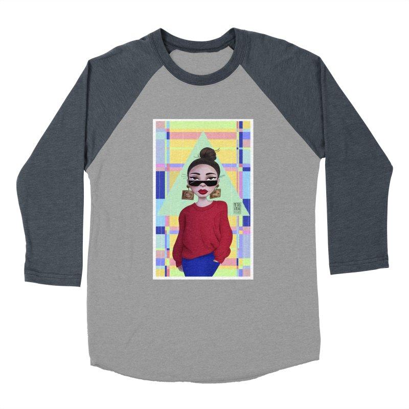Metro&medio Designs - Wallart Pin-up Women's Baseball Triblend Longsleeve T-Shirt by metroymedio's Artist Shop