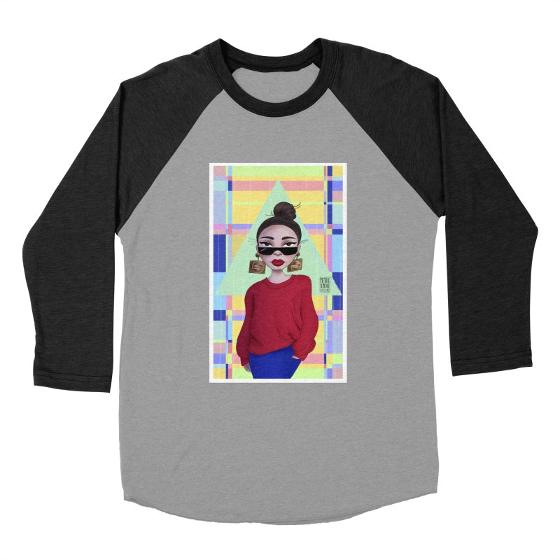 Metro&medio Designs - Wallart Pin-up Men's Baseball Triblend Longsleeve T-Shirt by metroymedio's Artist Shop
