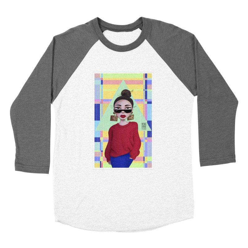 Metro&medio Designs - Wallart Pin-up Men's Baseball Triblend Longsleeve T-Shirt by metroymedio's Artist Shop