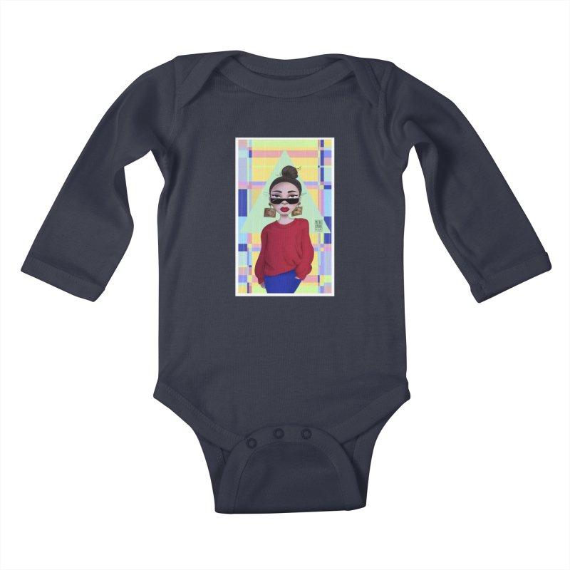 Metro&medio Designs - Wallart Pin-up Kids Baby Longsleeve Bodysuit by metroymedio's Artist Shop