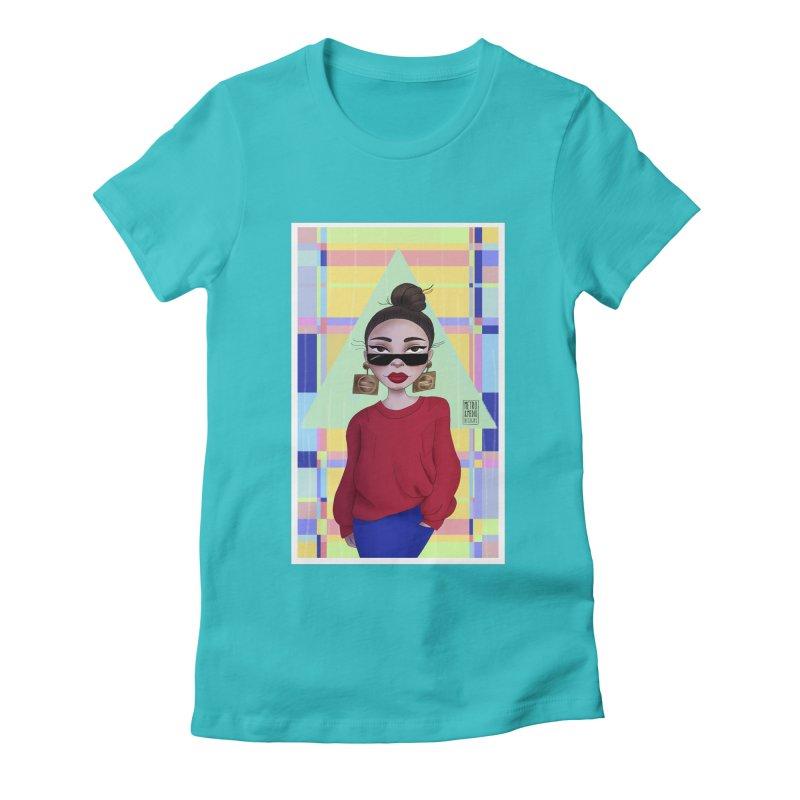 Metro&medio Designs - Wallart Pin-up Women's Fitted T-Shirt by metroymedio's Artist Shop