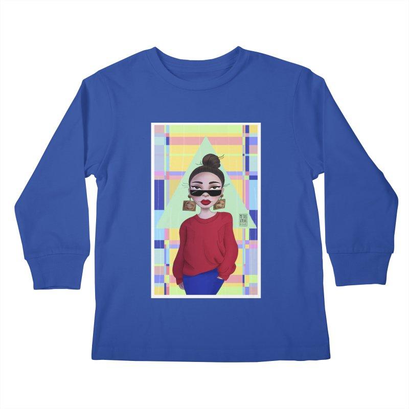 Metro&medio Designs - Wallart Pin-up Kids Longsleeve T-Shirt by metroymedio's Artist Shop